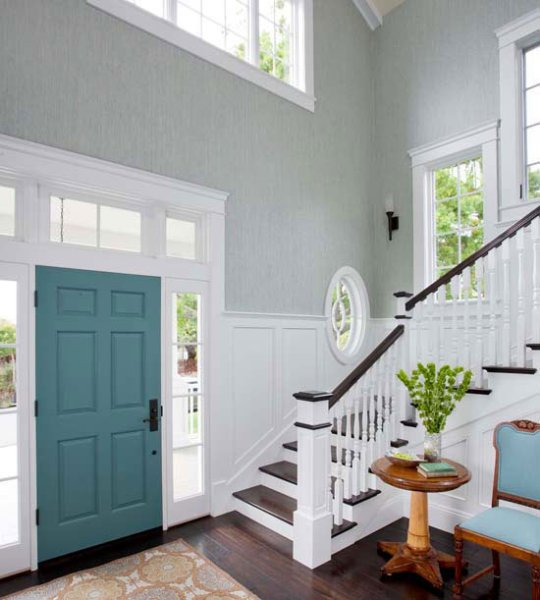 teal front door interior