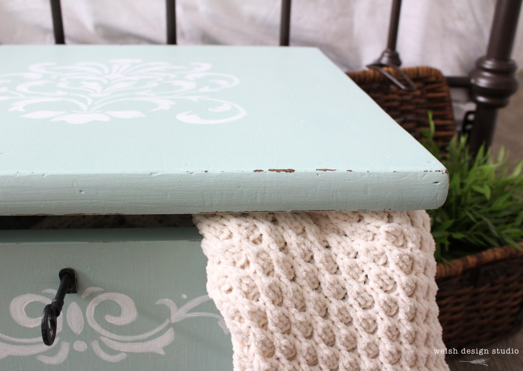 turquoise milk paint storage cube