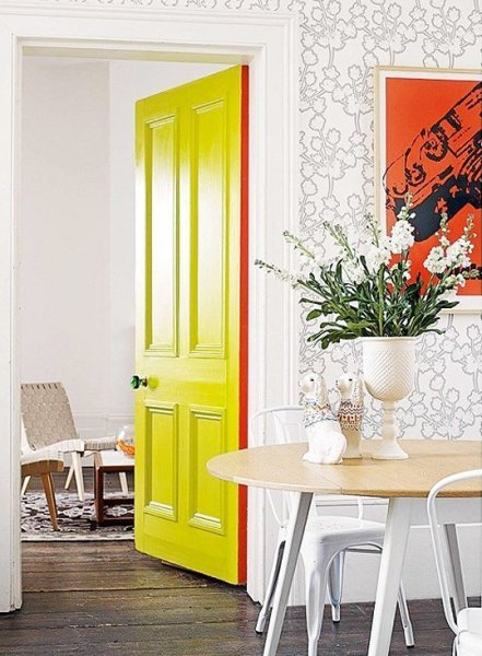 bright yellow interior door