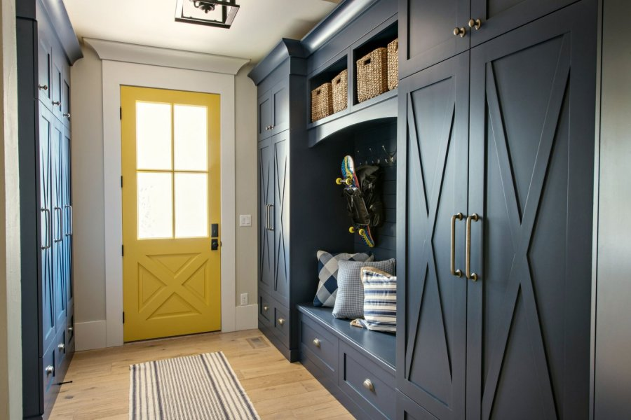 yellow mudroom door