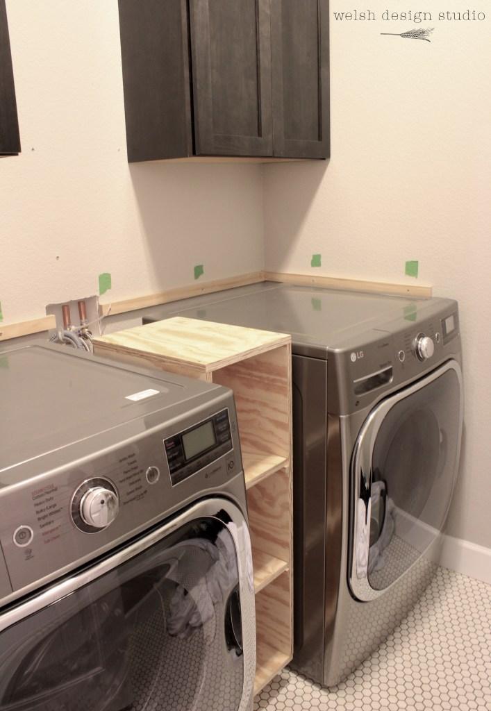 laundry room butcher block countertop support
