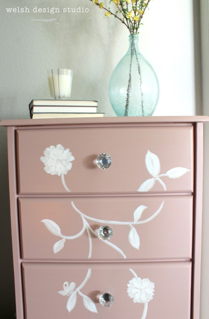 pink lingerie chest with stencil