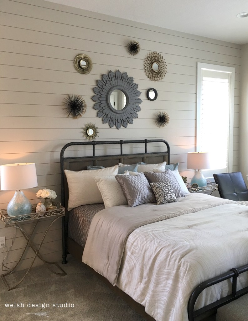 gray shiplap bedroom
