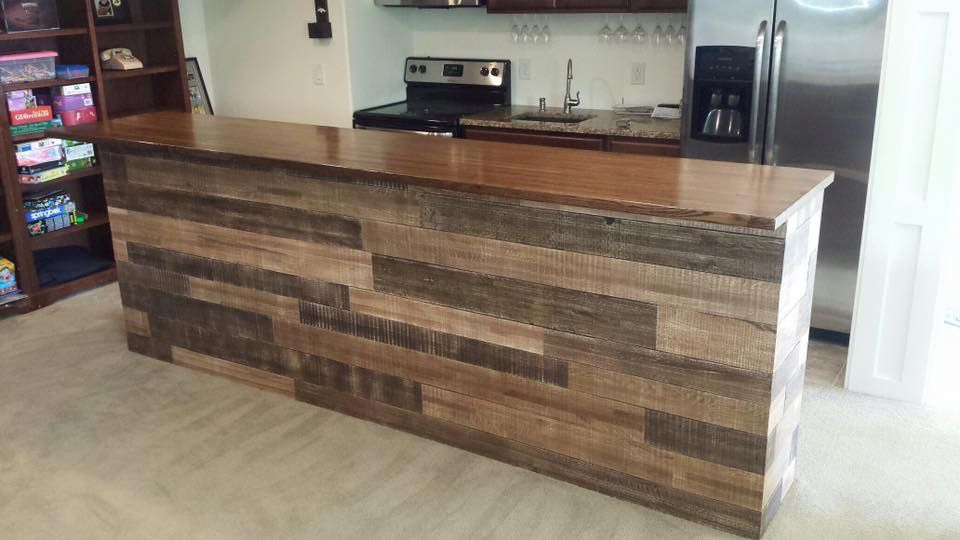 Reclaimed wood wrapped bar
