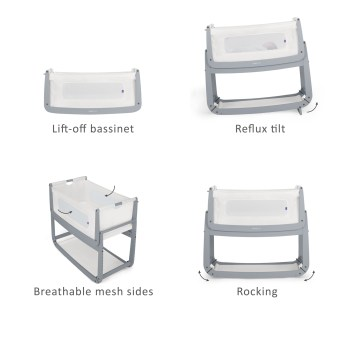 SnuzPod 3 Bedside Crib with Mattress Dove Grey