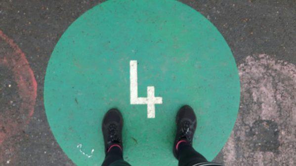 marking on the floor of playground