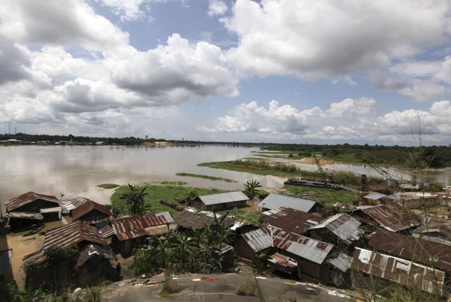 Houses are submerged in floodwaters in Patani community Delta state