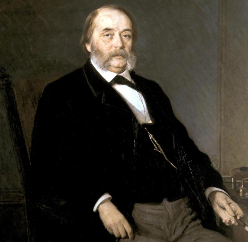 Russian writer Ivan Alexandrovich Goncharov after a painting by Kramskoj