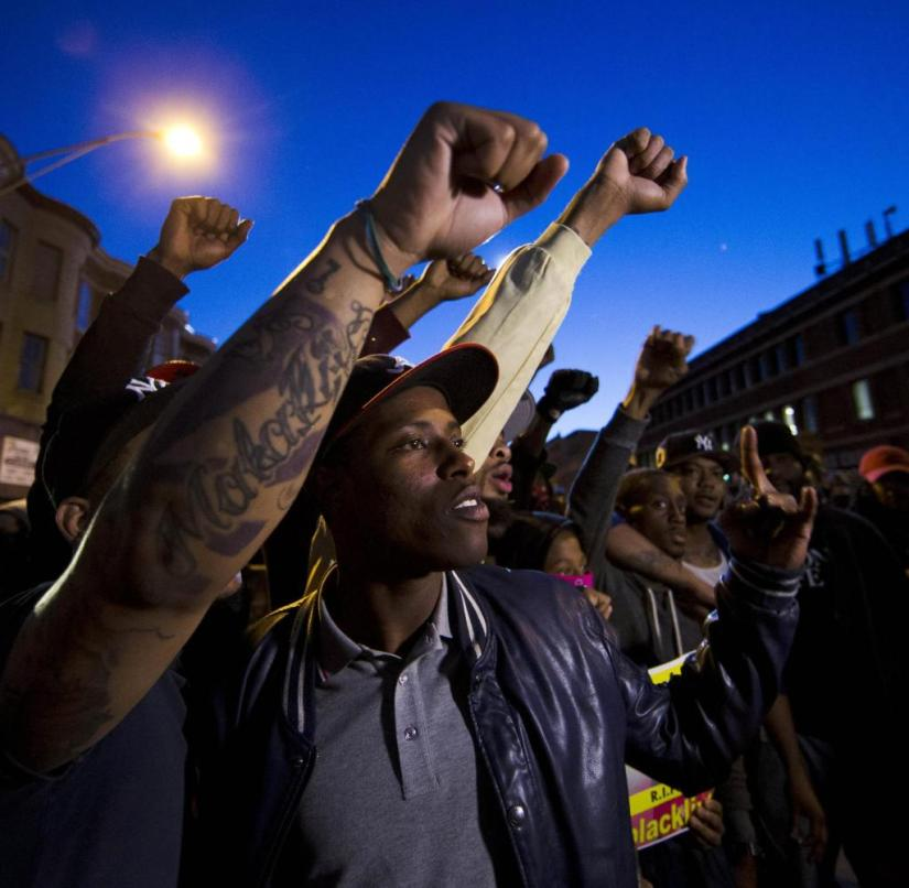 Protesters in Baltimore on Tuesday evening