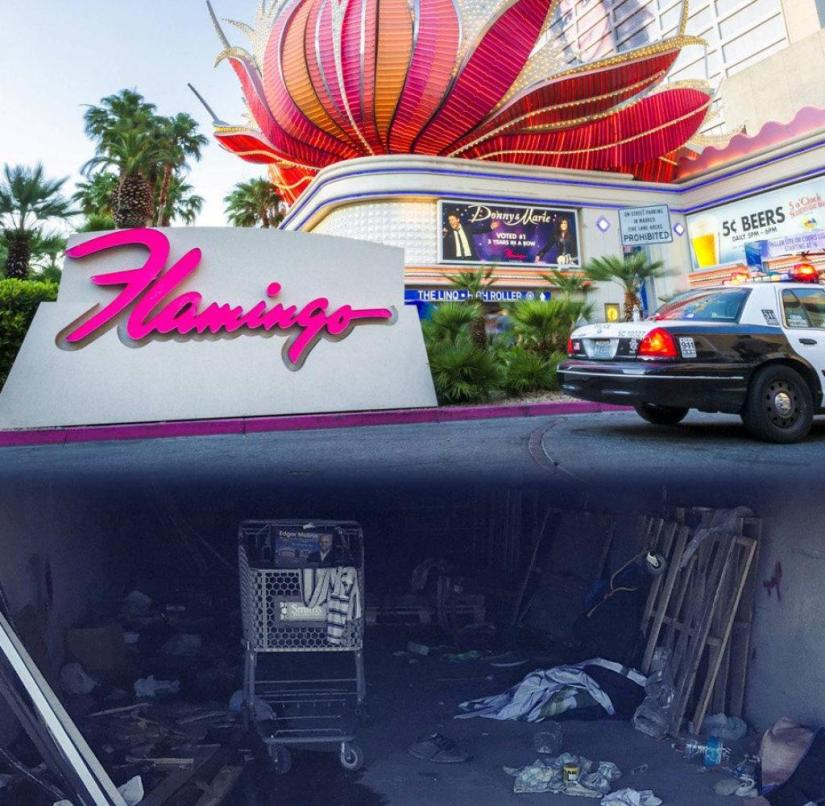 Two sides of Las Vegas: on top luxury hotels, artificial Eiffel Towers, casinos and parties, on the bottom poverty, dirt and misery