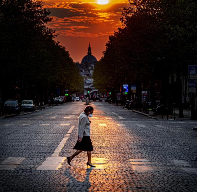 France has extended the lockdown until May 11 - lonely pedestrians and empty streets remain the rule in the capital, Paris