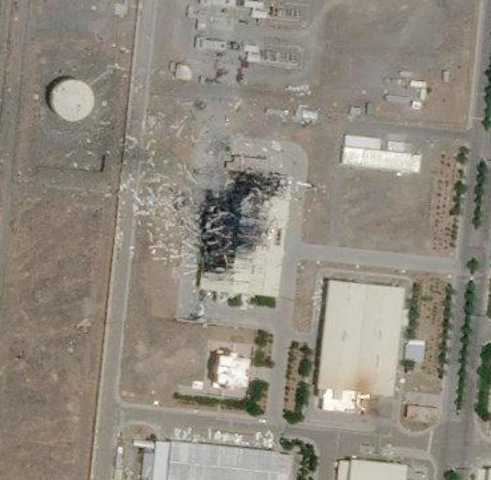 Satellite image of a destroyed building on the site of the Natans uranium enrichment plant