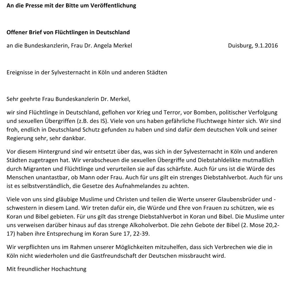Dieser Brief an Angela Merkel spricht Flchtlingen aus