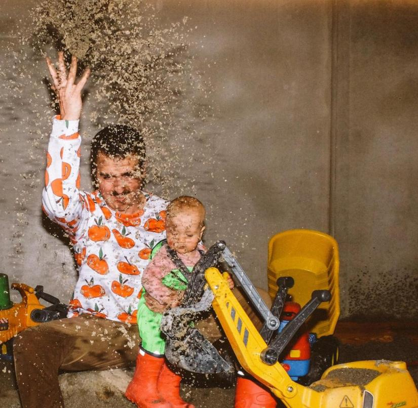 "The author with his son in the mud room of the family hotel ""Nature Family Resort Feuerstein"" in South Tyrol"
