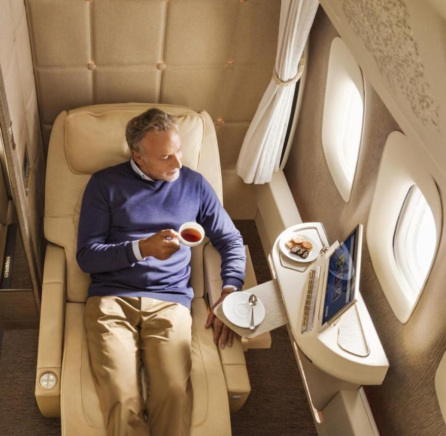 An advantage in times of Corona: The Emirates airline offers first-class passengers closed cabins on the plane