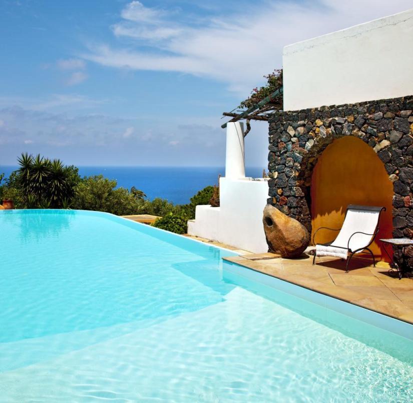 Sicily: Salina Island, Malfa, Hotel Signum, pool