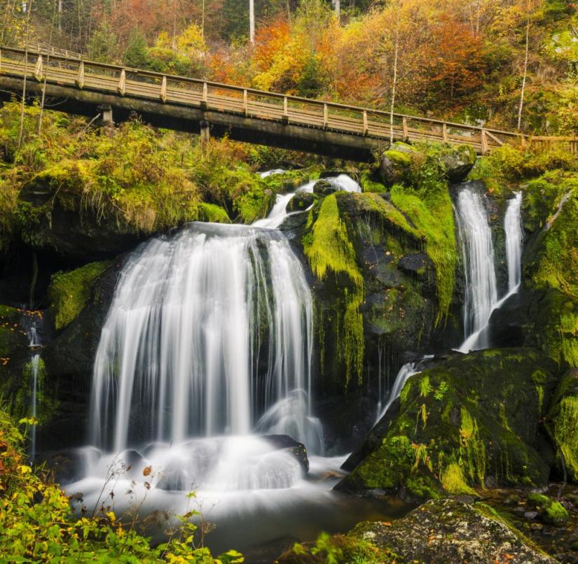 The Triberg Waterfalls in the Black Forest, with a total drop of 163 meters, are among the most famous waterfalls in Germany.  Paths for hikers lead past them