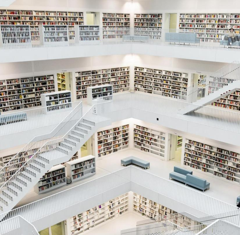 The library in Stuttgart, designed by the Korean architect Eun Young Yi, is spectacular