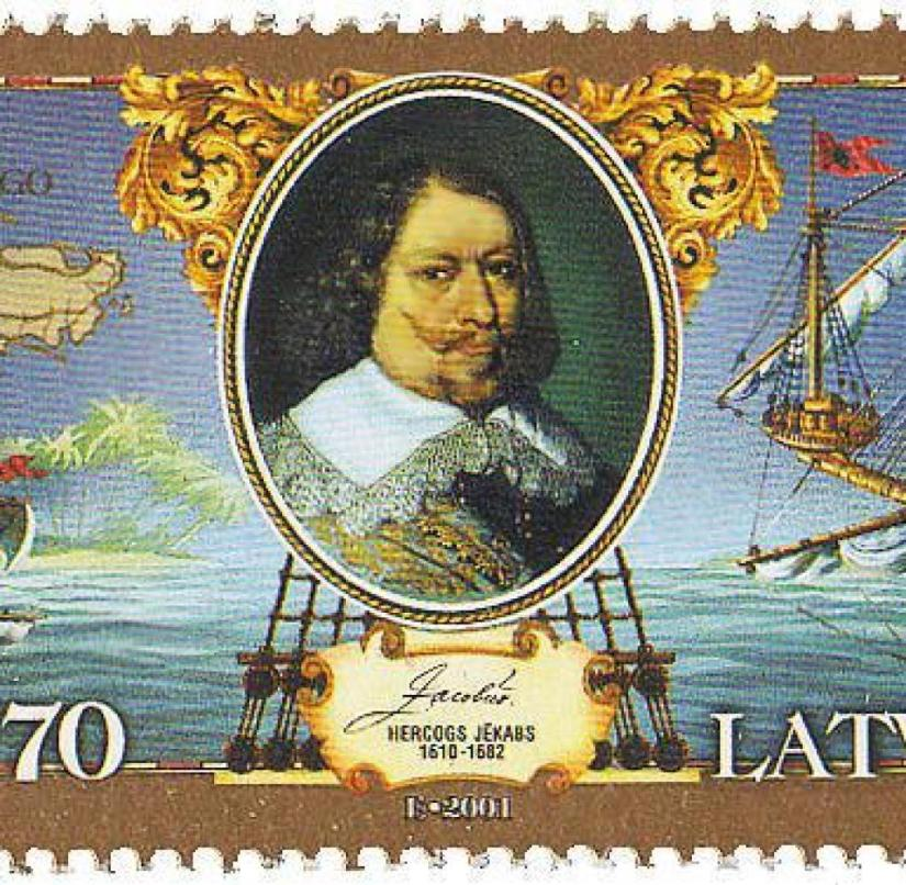 A Latvian postage stamp from 2001 commemorates the time when the Caribbean island of Tobago was called New Courland