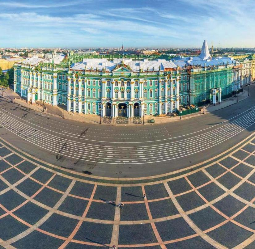 In Saint Petersburg Palace Square with the Hermitage and Alexander Column form the focal point