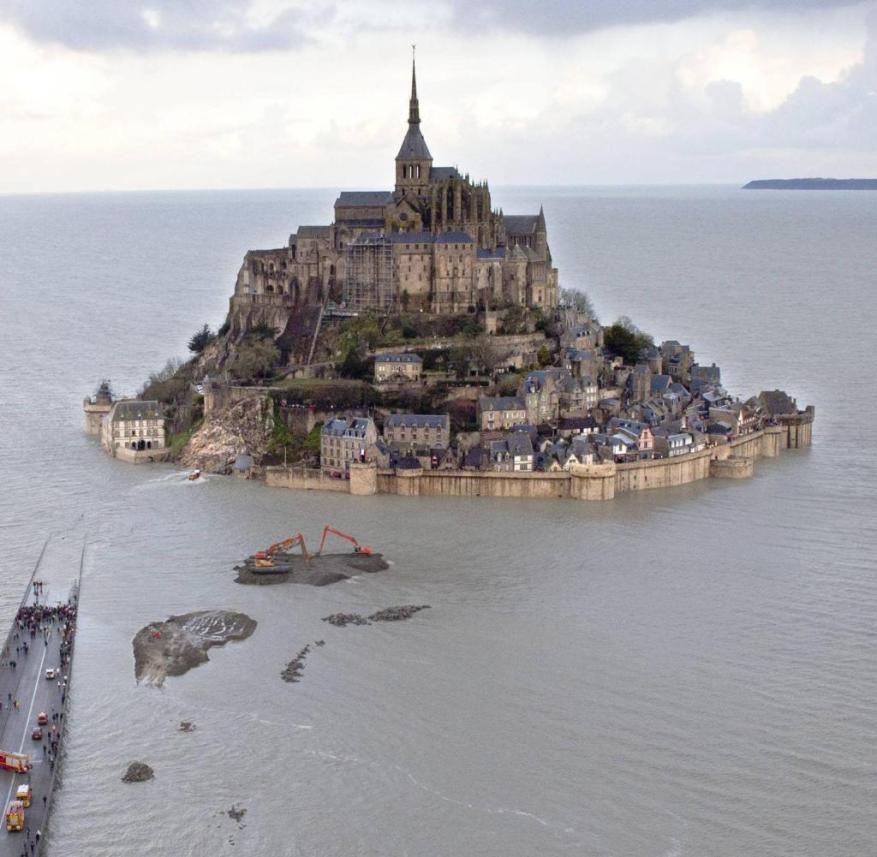 The Mont-Saint-Michel monastery mountain in Normandy (France)