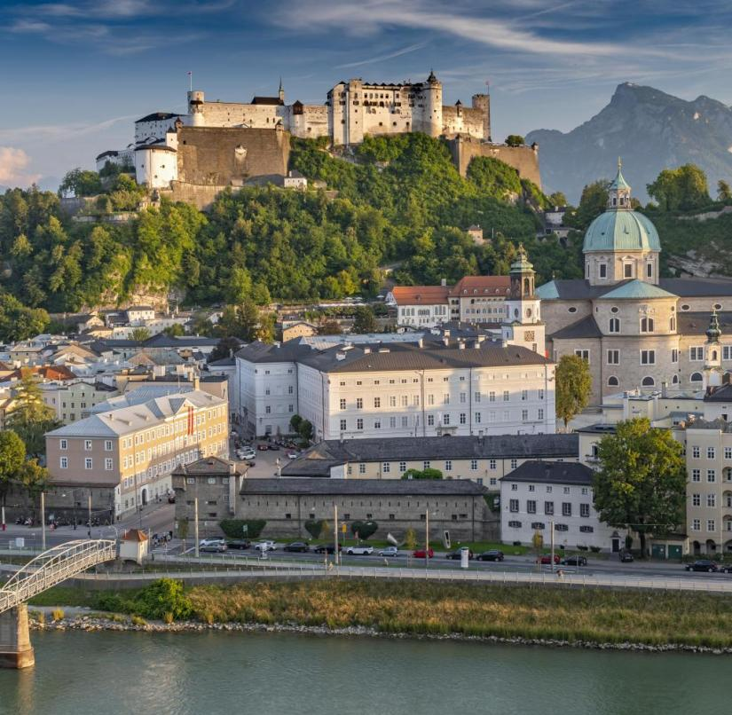 Austria: View from Kapuzinerberg to Salzburg's old town and the Hohensalzburg fortress