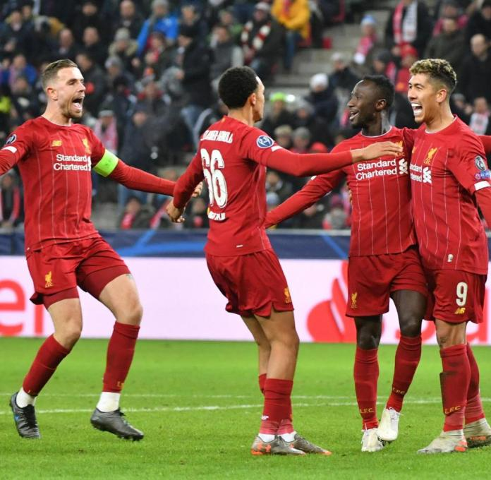 10.12.2019, Austria, Salzburg: Football: Champions League, Group Stage, Group E, Matchday 6, RB Salzburg - Liverpool in the Red Bull Arena Salzburg. Players from Liverpool celebrate the goal to 0: 2. Photo: Barbara Gindl / APA / dpa +++ dpa broadcast +++
