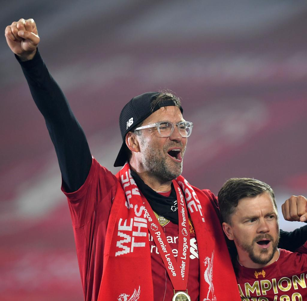 His latest coup: Jürgen Klopp celebrates winning the title with Liverpool