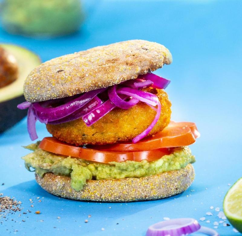 Frosta's vegan fish as a burger