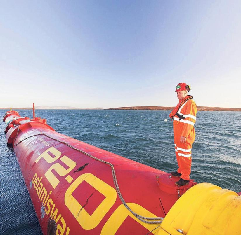 Power generation on the Scottish Orkney Islands: a tidal turbine swims off the coast