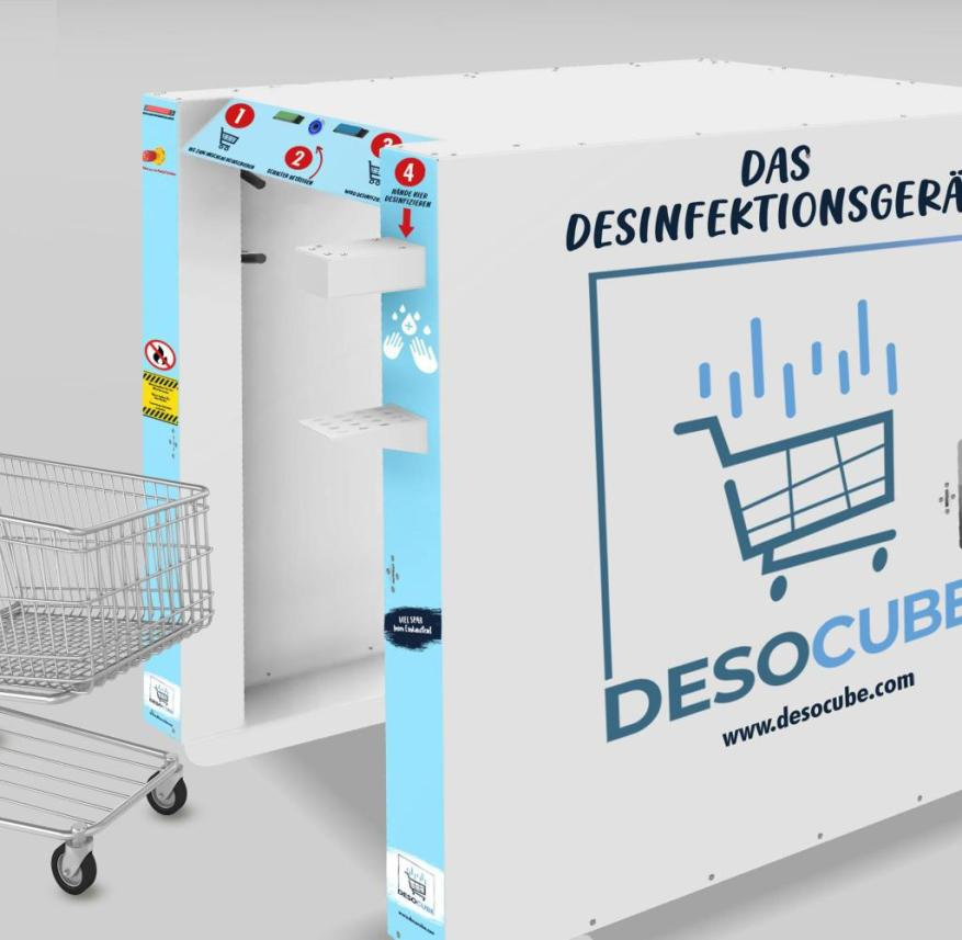 """Base area the size of a Euro pallet: In the """"Deso Cube"""", the shopping trolley is sprayed with disinfectant"""