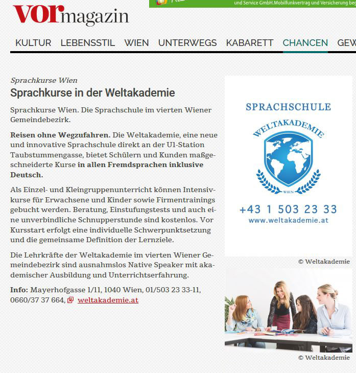 Presse - Sprachschule Weltakademie