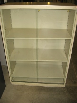 Metal Bookcase with Glass Doors - Used