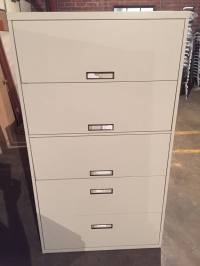 "5-Drawer Steelcase 36"" & 42"" Wide Putty Lateral File ..."