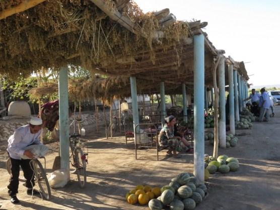 Melonenmarkt an der Straße