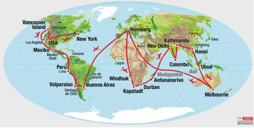 Reiseroute Weltreise-Logbuch