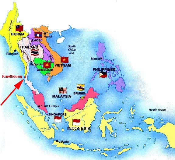 Rangoon Map Asia Southeast
