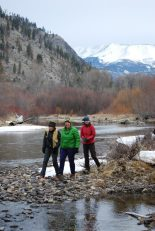 Susan, Annette, and Sally are framed by the multi-layered canopy of riparian shrubs that flank both sides of the Entiat River. Last fall, dropped deciduous leaves fell into the stream and provided the food energy that fuels the aquatic food web.