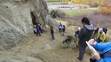 Wenatchee Naturalists at work, creating geology field notes with labled rock layers and features.