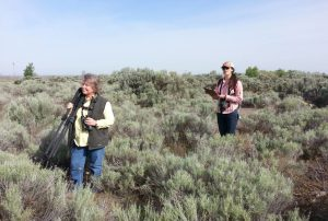 A group of citizen science volunteers learning the protocol used for the Sagebrush Songbird Survey