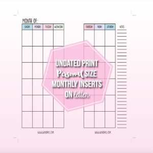 Free Undated Month on Two Pages Planner Inserts | Wendaful