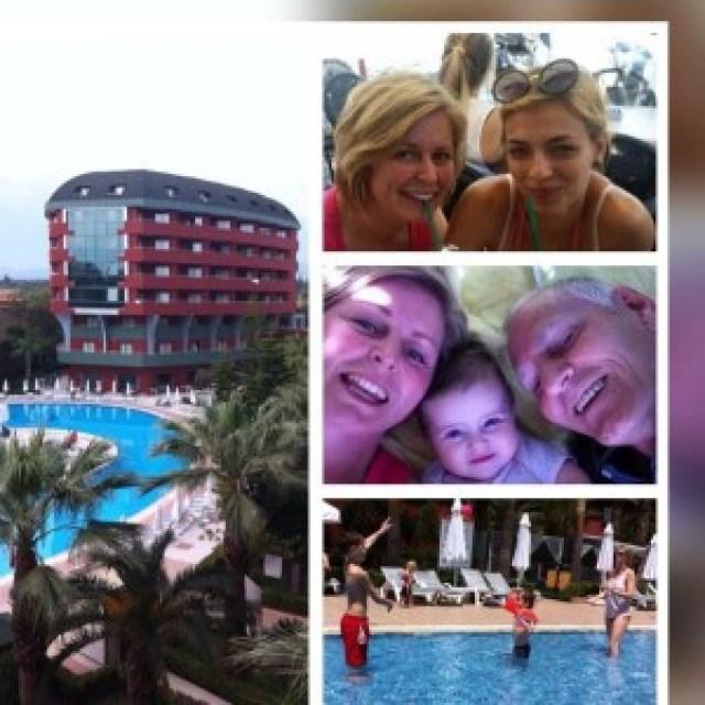 Hotel, Lisa en Loes, Loes, Nyla, mijn vader, Luca, Anouar en ik.