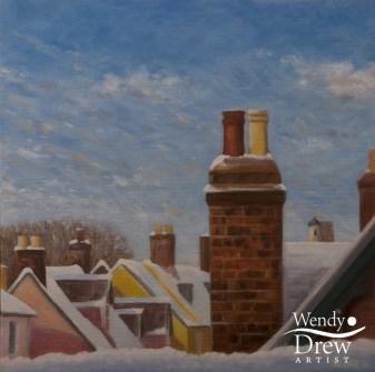 Snowy rooftops, Bury St Edmunds