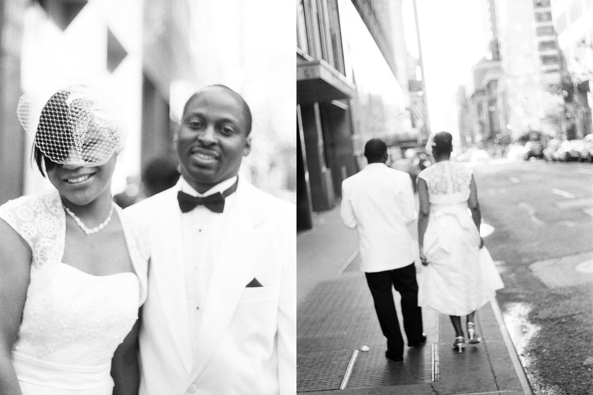 bw times square wedding couple