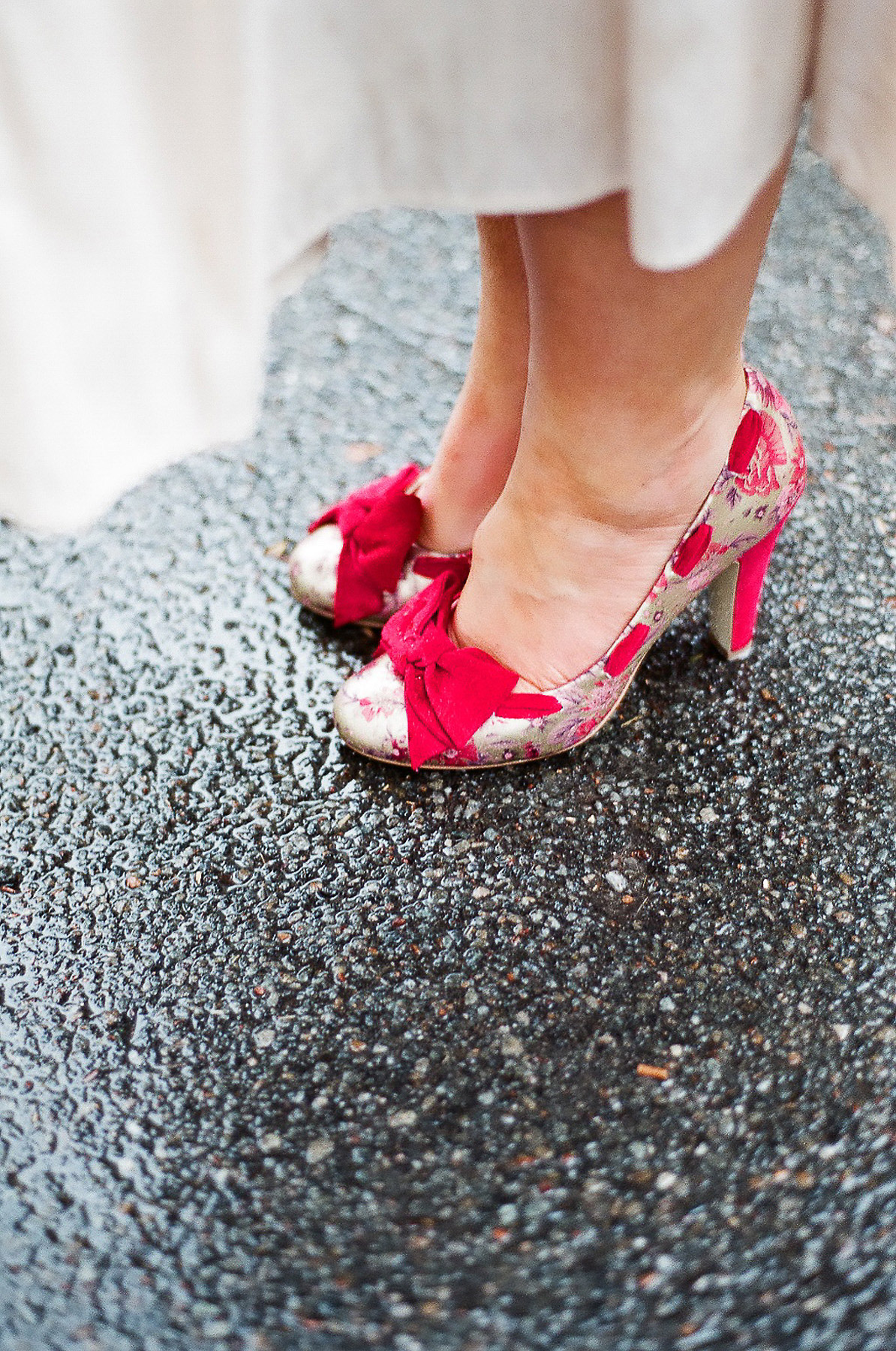 elopement wedding day photo of brides colorful shoes by wendy g photography