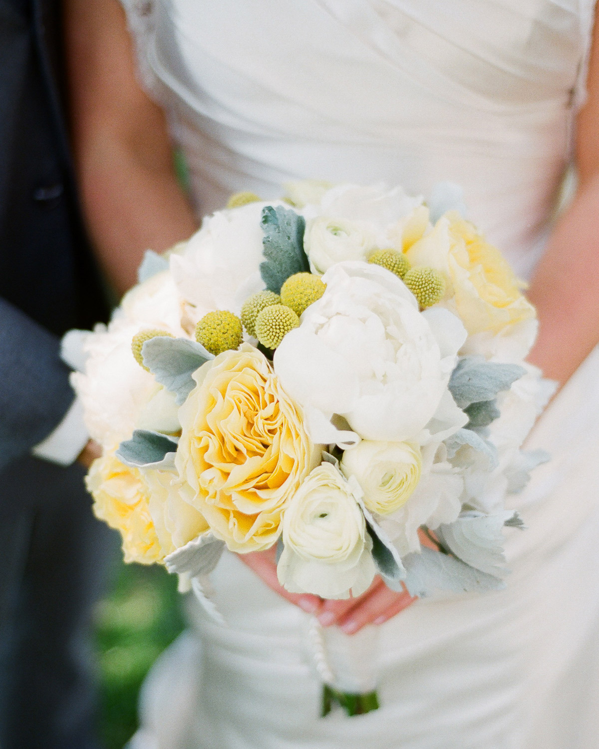 southampton bridal bouquet of yellow, white and mint green by wendy g photography