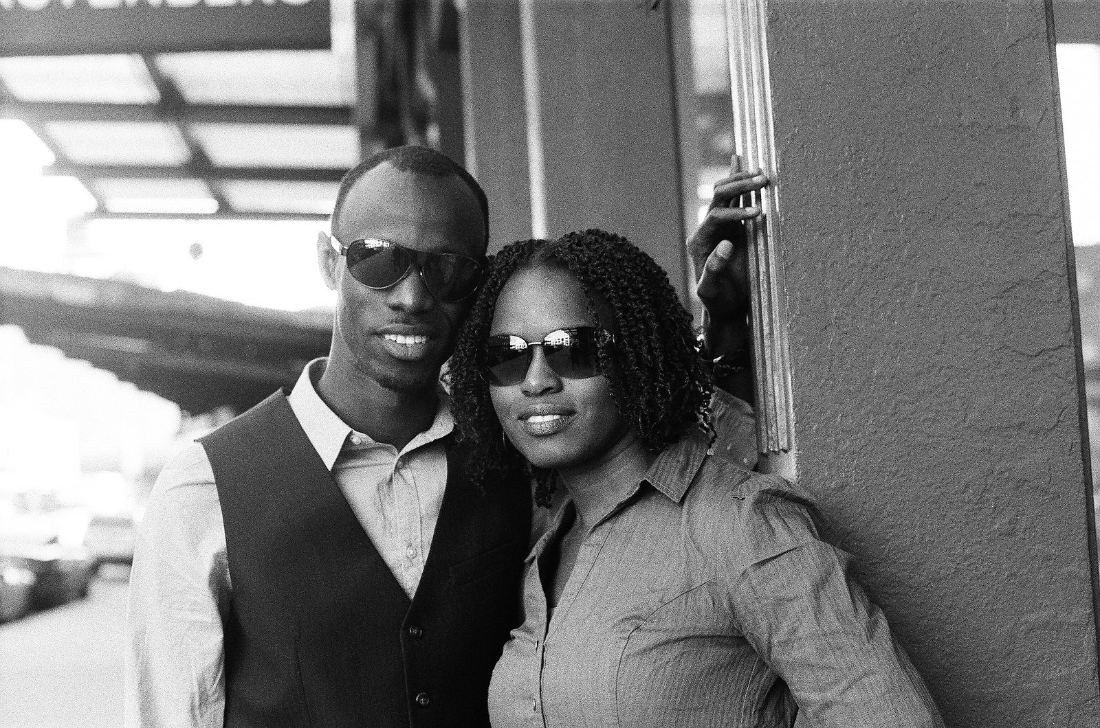 black and white photo of engaged couple in meatpacking district