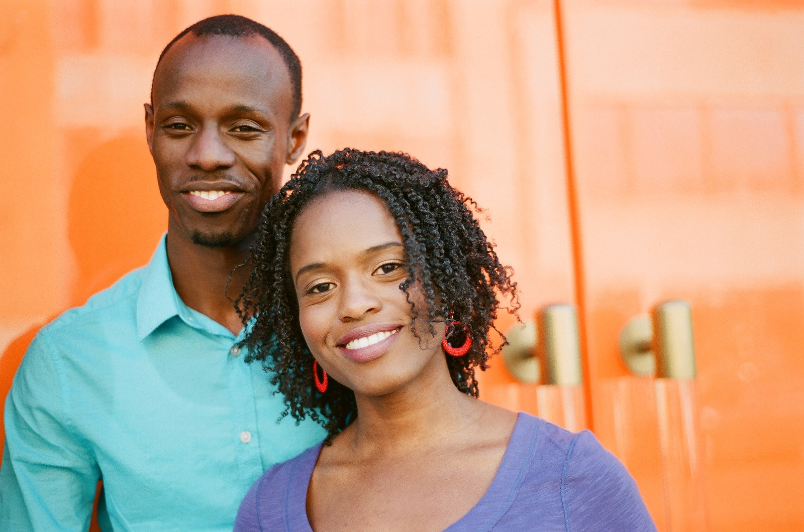 colorful engagement photo of couple in meatpacking district