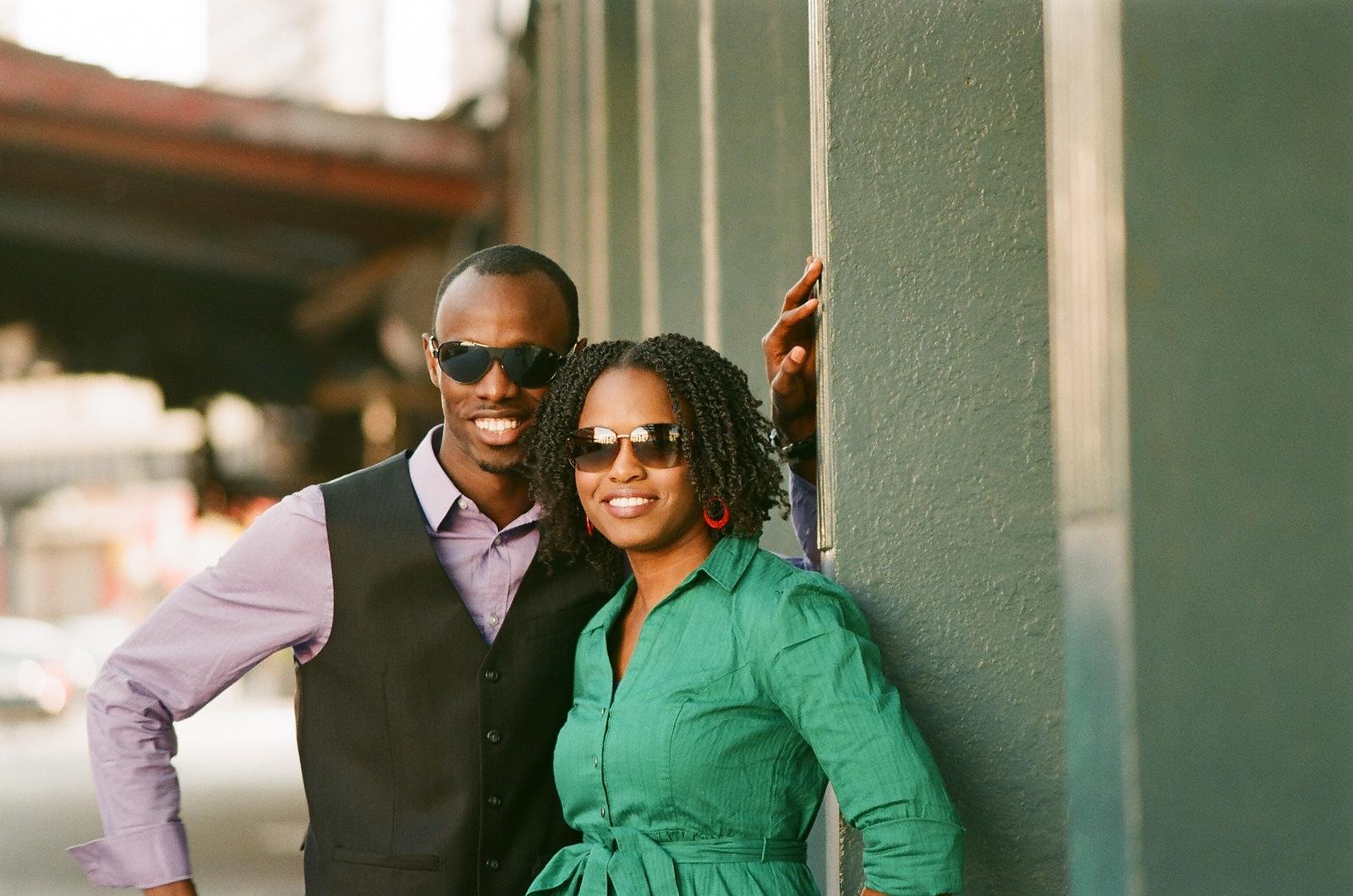 nyc engagement photo couple wearing sunglasses