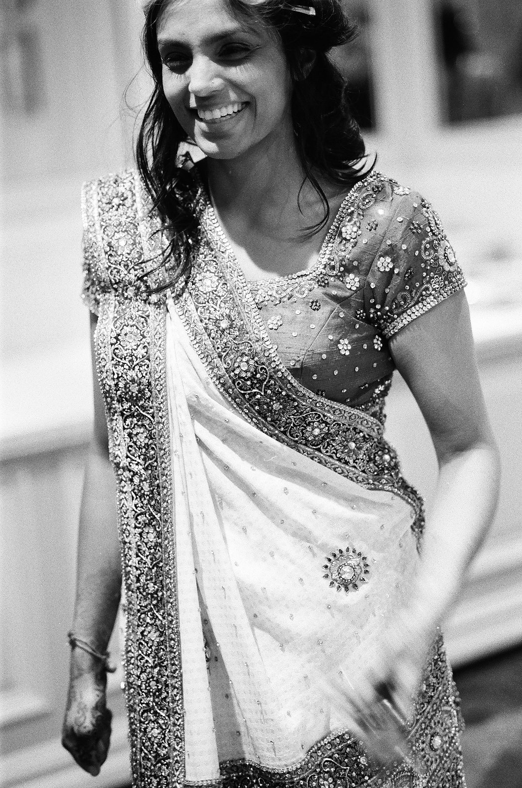 black and white photo indian bride getting ready